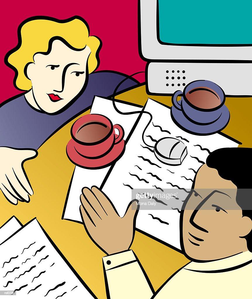 Two People at Work : Ilustração de stock