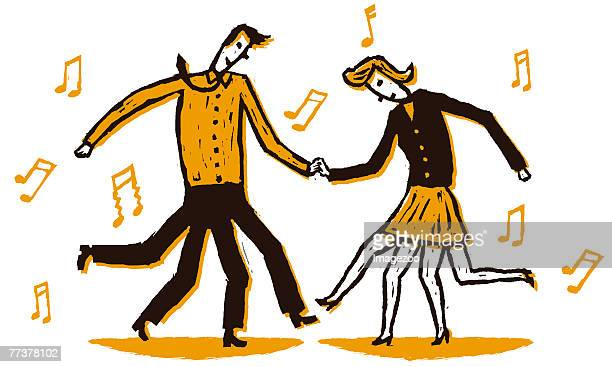 two people dancing - swing dancing stock illustrations