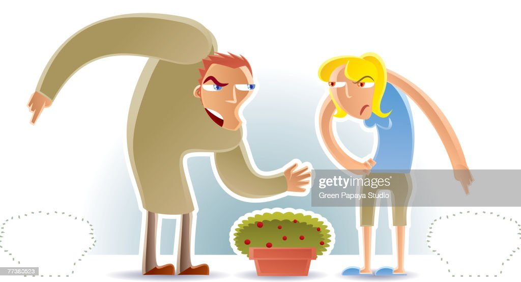Two people fighting over belongings : Illustration
