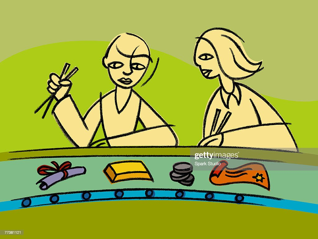 Two people having a business sushi lunch : Illustration