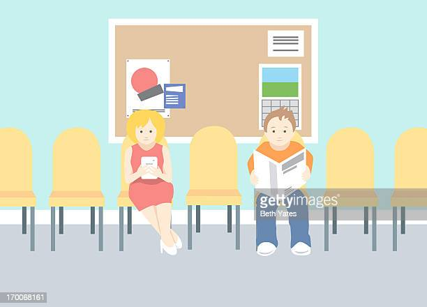 Two people in a waiting room