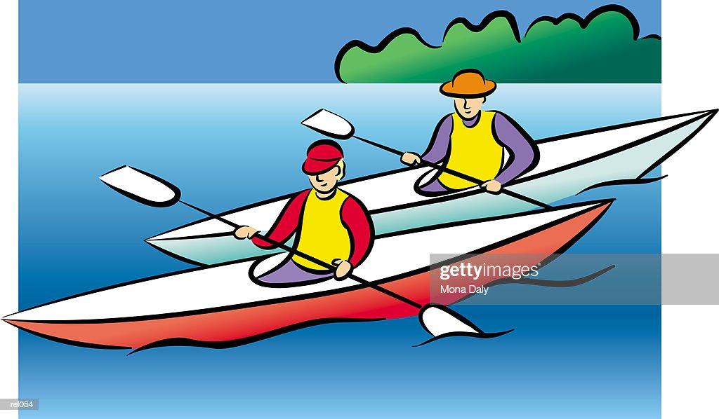 Two People in Kayaks : Ilustração de stock