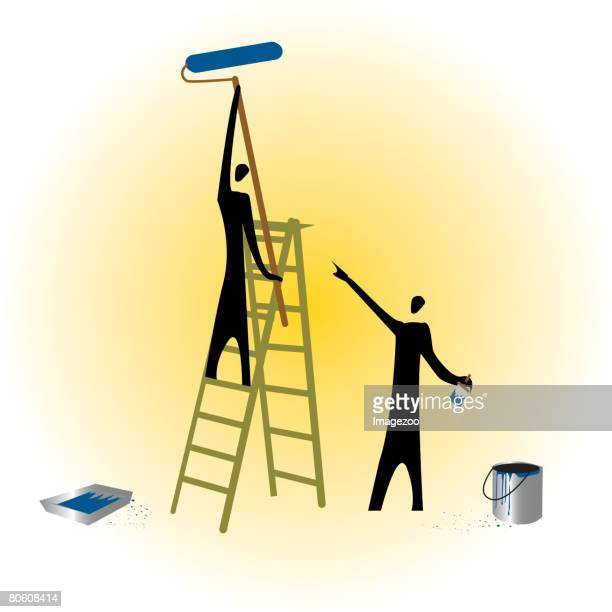 two people painting a wall - number of people stock illustrations, clip art, cartoons, & icons