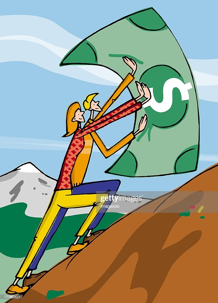 two people pushing a dollar bill up a hill : Illustration