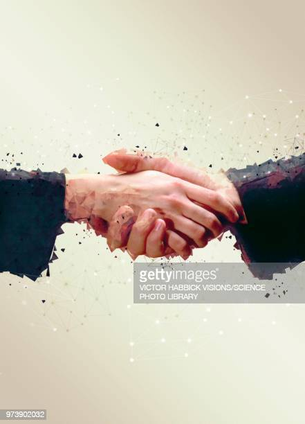 two people shaking hands, illustration - victor habbick stock illustrations
