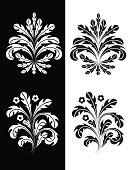 two plant inspired black white graphic