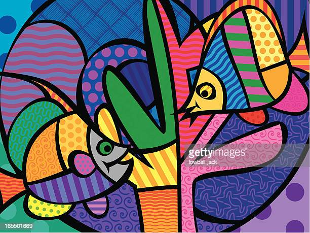 two pop fish - angelfish stock illustrations, clip art, cartoons, & icons