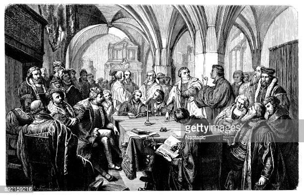illustrations, cliparts, dessins animés et icônes de deux ecclésiastiques protestants, luther et zwingli, s'engager dans un débat religieux date: octobre 1529 - protestantisme