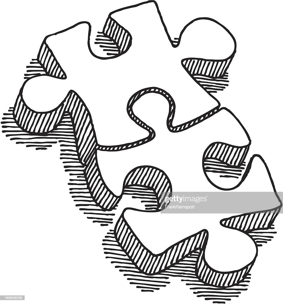 two puzzle pieces connection drawing vector art getty images