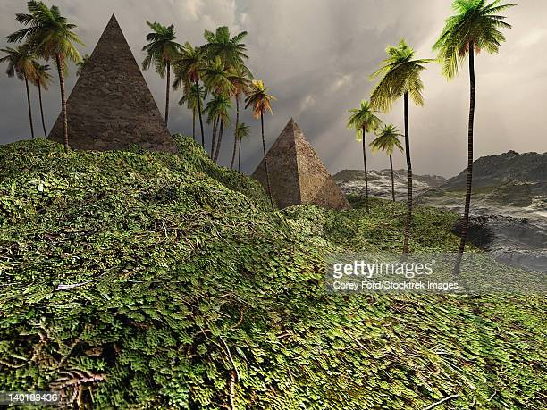 Two pyramids sit majestically among the surrounding jungle.
