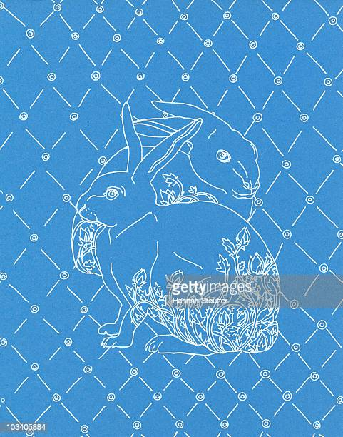 two rabbits - animal markings stock illustrations