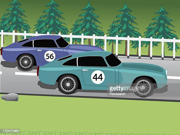 two racing cars - domestic car stock illustrations, clip art, cartoons, & icons