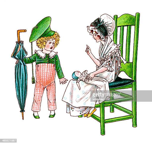 two regency era children with umbrella and doll - bonnet stock illustrations, clip art, cartoons, & icons