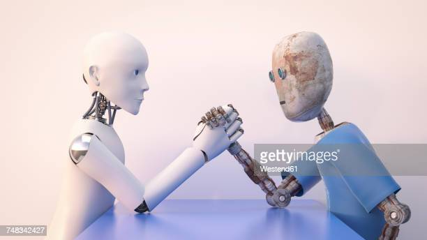 Two robots arm wrestling, 3d rendering