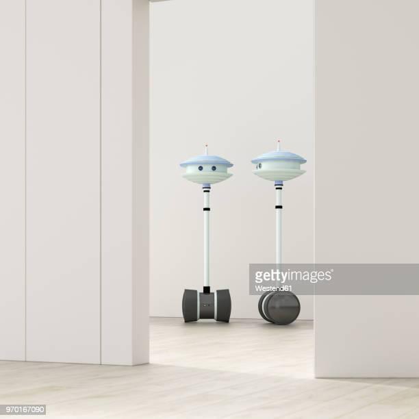 two robots behind ajar door in an empty room, 3d rendering - meeting stock illustrations