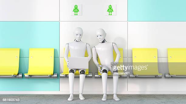 Two robots looking at laptop, 3D Rendering