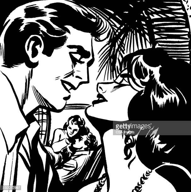 two romantic couples - seduction stock illustrations, clip art, cartoons, & icons