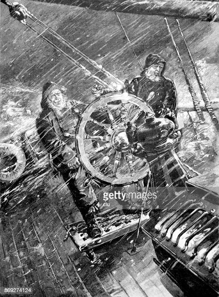 Two sailors during heavy storm on the ship steering wheel