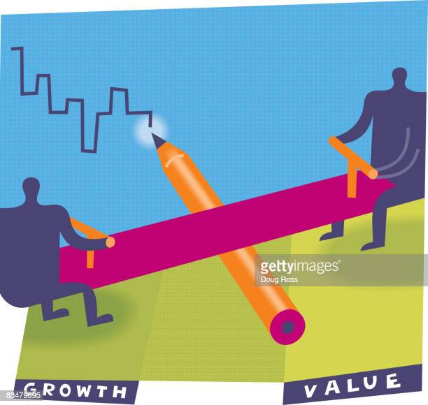 two silhouetted men on a seesaw depicting balanced investing - nasdaq stock illustrations, clip art, cartoons, & icons