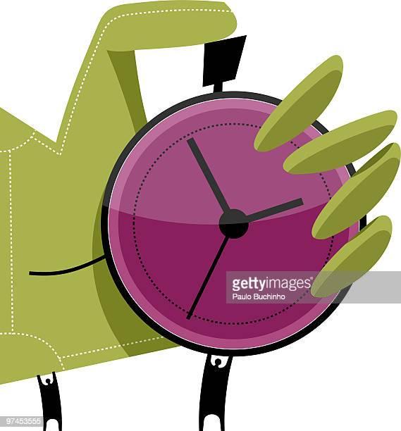 ilustrações de stock, clip art, desenhos animados e ícones de two small figures holding up a large green hand that is using a purple stop watch - buchinho