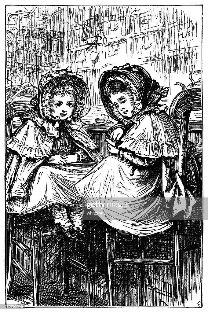 Dois pequenos Victorian garotas estarão esperando em uma loja : Ilustração