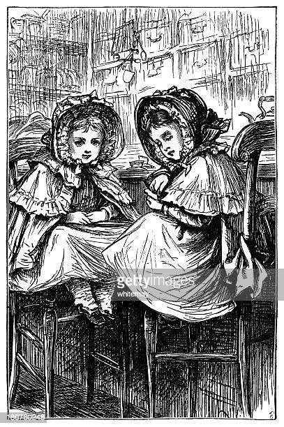 two small victorian girls waiting in a shop - sunday best stock illustrations, clip art, cartoons, & icons