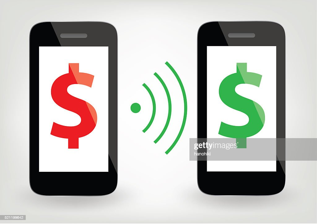 two smart phones with dollar signs and wireless symbol