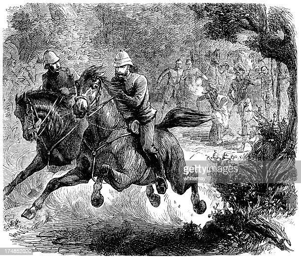 Two soldiers escaping angry tribesmen