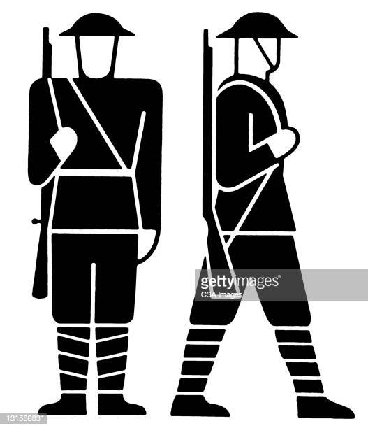 two soldiers - military uniform stock illustrations