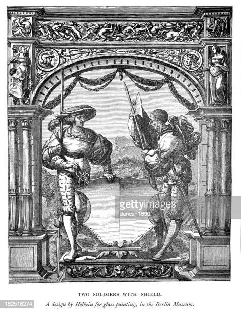 two soldiers with shield 16th century - halberd stock illustrations