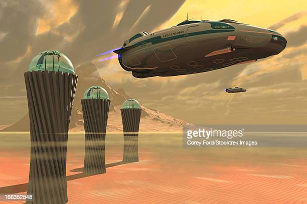 Two spacecraft takeoff from a colony which produces vegetation on a desert planet.