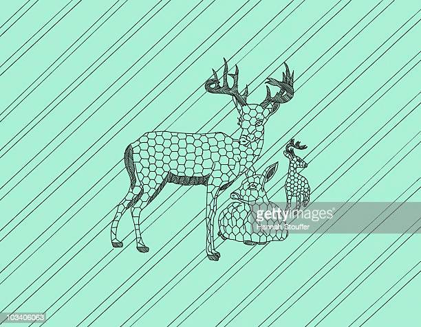 two stags and a doe - animal markings stock illustrations