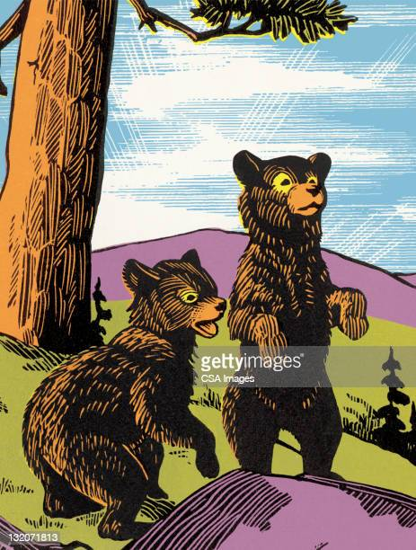 two startled bears - tree trunk stock illustrations, clip art, cartoons, & icons