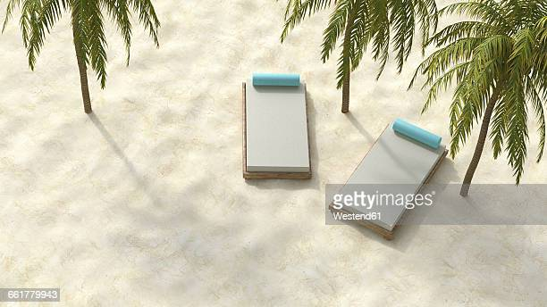 Two sun loungers on the beach under palms, 3D rendering