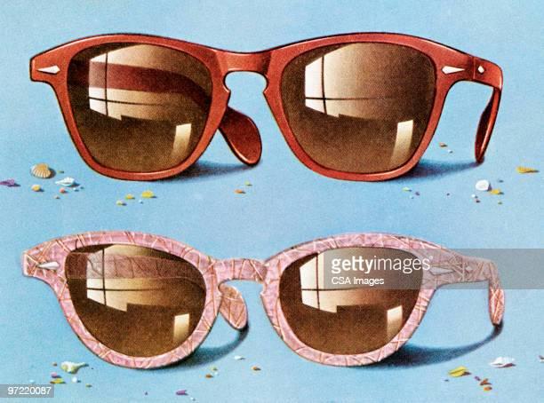 two sunglasses - 20th century stock illustrations