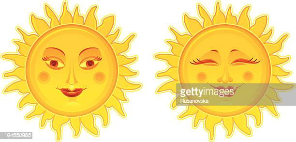 two suns (design elements) - eyes closed stock illustrations, clip art, cartoons, & icons