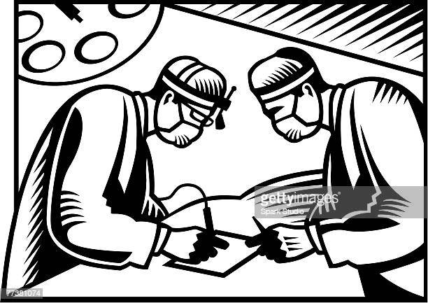two surgeons performing surgery on a piece of paper illustrated in black and white - operating gown stock illustrations, clip art, cartoons, & icons