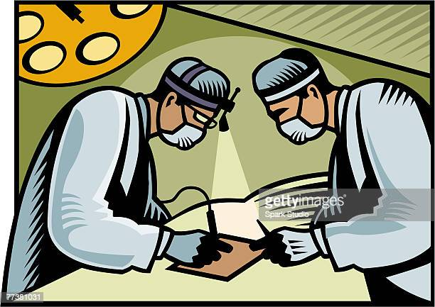 Two surgeons performing surgery on a piece of paper