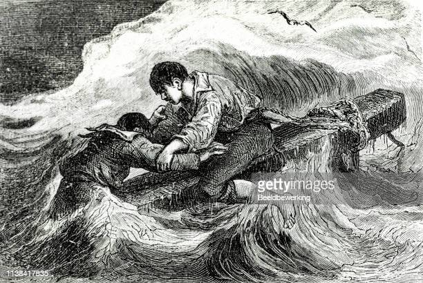 Two survivors of tall ship caught in a storm engraving
