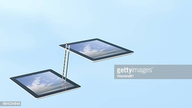 Two tablets connected with ladder, 3D Rendering