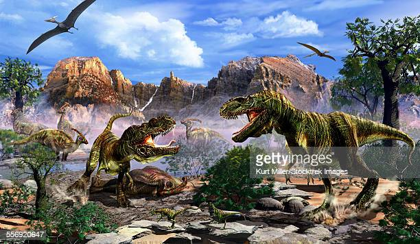 Two T-Rex dinosaurs fighting over a dead carcass.