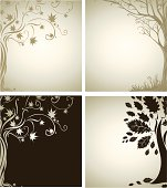 Two Vector samples of design with decorative tree
