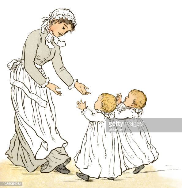 two victorian babies with their nursemaid - nanny stock illustrations