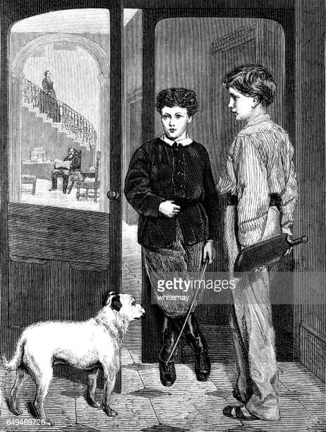 Two Victorian boys with a dog