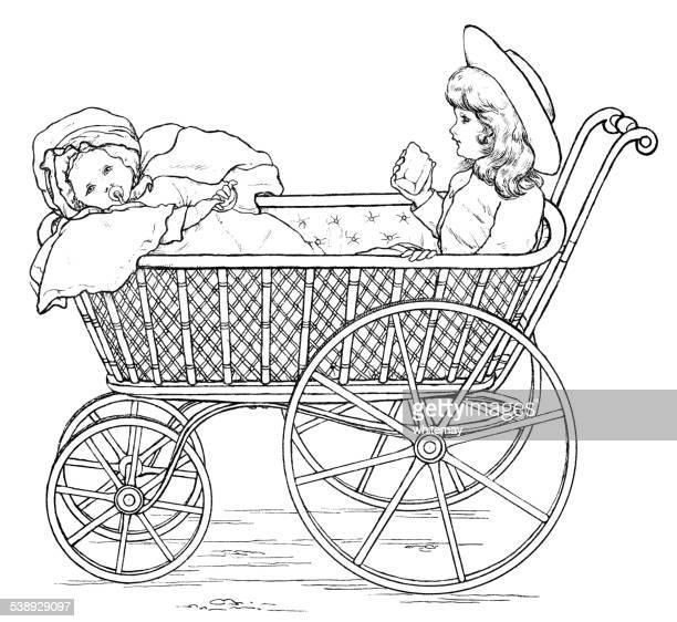 two victorian children in a pram (engraving) - baby carriage stock illustrations