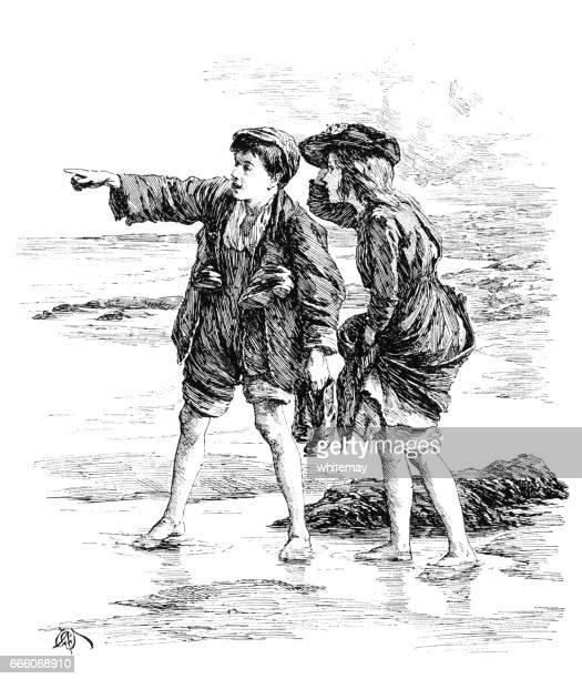 Two Victorian children on a beach