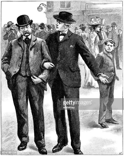 Two Victorian gentlemen arm in arm