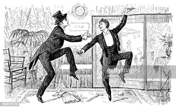 two victorian gentlemen dancing a jig - 19th century style stock illustrations