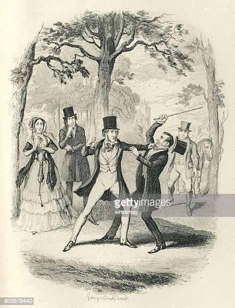 Two Victorian gentlemen fighting in a park
