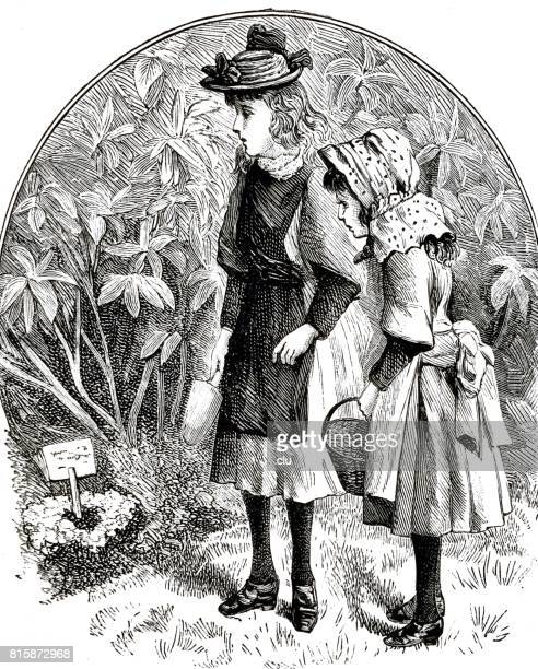 Two victorian girls standing at the grave of their hare